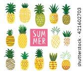 cute ananas collection  vector... | Shutterstock .eps vector #421602703
