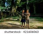 siem reap march 04  children...   Shutterstock . vector #421606063