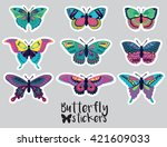Stock vector sticker set of butterflies decorative silhouettes in cartoon style 421609033