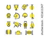 horse equipment icon set thin... | Shutterstock .eps vector #421611247