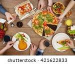 family eating | Shutterstock . vector #421622833