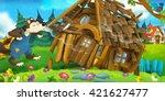 cartoon scene of wooden house...   Shutterstock . vector #421627477