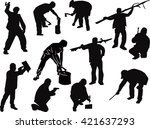 illustration with workers... | Shutterstock .eps vector #421637293