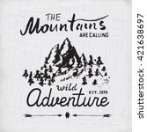 mountains hand drawn sketch... | Shutterstock .eps vector #421638697