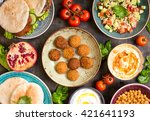 table served with middle... | Shutterstock . vector #421641193