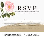 rsvp card wedding design set... | Shutterstock .eps vector #421659013