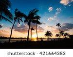 sunset scene over south pointe... | Shutterstock . vector #421664383