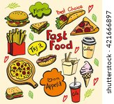 fast food colored illustration | Shutterstock .eps vector #421666897