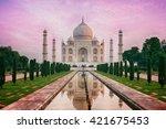 view of taj mahal | Shutterstock . vector #421675453