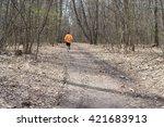 man runs on vanishing footpath... | Shutterstock . vector #421683913