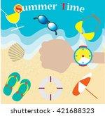 ocean wave on a sandy beach... | Shutterstock .eps vector #421688323