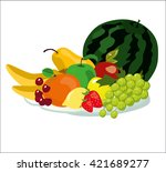 Illustration Of Fruits On A...