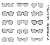 vector set of glasses and... | Shutterstock .eps vector #421689577