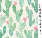 Seamless Watercolor Cactus...