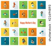 happy mothers day simple flat...   Shutterstock . vector #421694893
