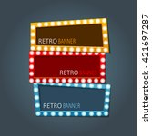 vector retro banners set with... | Shutterstock .eps vector #421697287