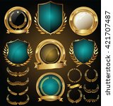 vector medieval golden shields... | Shutterstock .eps vector #421707487