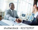 greeting new colleague | Shutterstock . vector #421722937