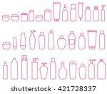linear set of cosmetic bottle...
