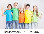 group of multiracial funny... | Shutterstock . vector #421752307