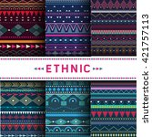 set of six colorful ethnic... | Shutterstock .eps vector #421757113