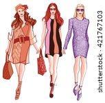 fashion women defile   vector...   Shutterstock .eps vector #421767103