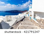 white and blue santorini island ... | Shutterstock . vector #421791247