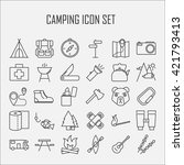 camping icons. outdoor... | Shutterstock .eps vector #421793413