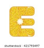 vector orange slice alphabet on ...   Shutterstock .eps vector #421793497