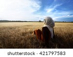 muslim woman wearing hijab... | Shutterstock . vector #421797583