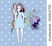 nice illustration of the girl... | Shutterstock .eps vector #421812703
