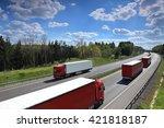 trucks on the road | Shutterstock . vector #421818187