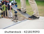 skateboarder standing on a ramp ... | Shutterstock . vector #421819093