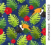 tropical birds and flowers... | Shutterstock .eps vector #421832413