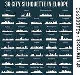Set Of 39 City Silhouette In...