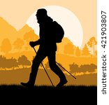 man hiking in mountains...   Shutterstock .eps vector #421903807