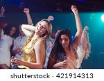 happy friends dancing in a club | Shutterstock . vector #421914313