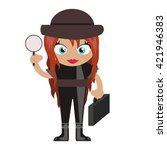 cartoon character.  detective... | Shutterstock .eps vector #421946383