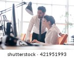 business couple working... | Shutterstock . vector #421951993