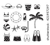 summer objects icons set ... | Shutterstock .eps vector #421957297