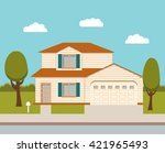 the flat picture with the... | Shutterstock .eps vector #421965493
