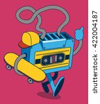 retro cassette  skater... | Shutterstock .eps vector #422004187