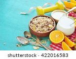 healthy food and tape measure... | Shutterstock . vector #422016583