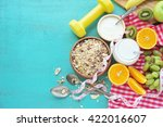 healthy food and tape measure... | Shutterstock . vector #422016607