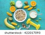 homemade yogurt with granola... | Shutterstock . vector #422017093