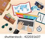 travel planning. man with... | Shutterstock .eps vector #422031637