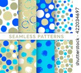 set of 8 seamless patterns with ... | Shutterstock .eps vector #422034697