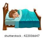 boy is sleeping on his bed.... | Shutterstock .eps vector #422036647