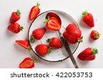 fresh strawberry on plate on... | Shutterstock . vector #422053753