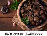 fried chicken liver with onions ... | Shutterstock . vector #422090983